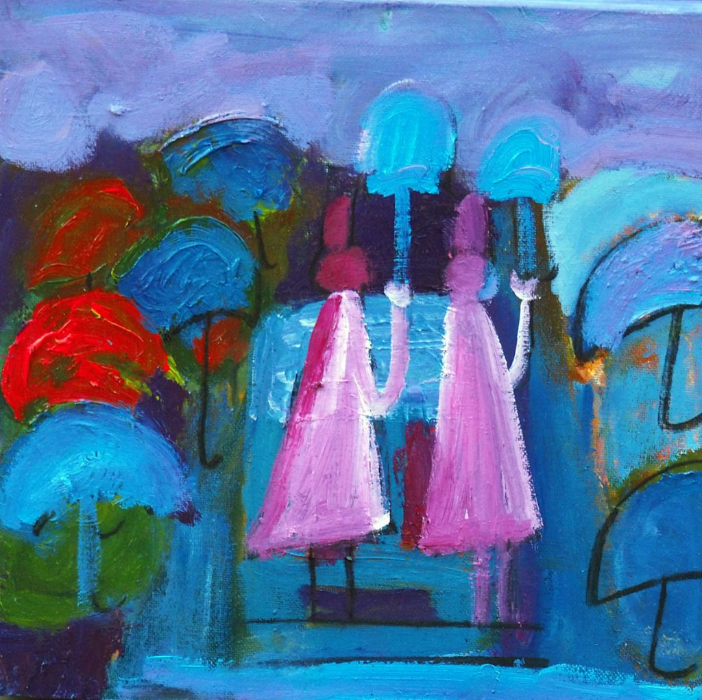 A rainy day, Oil on canvas, 30x30cm, 5000kr